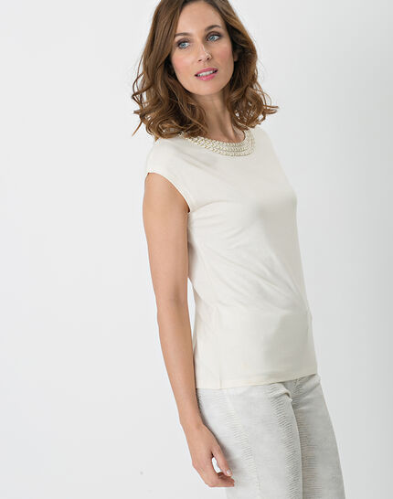 Natte pale yellow shiny T-shirt with braided neckline (4) - 1-2-3