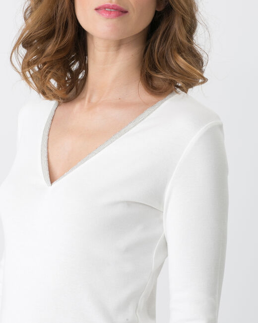 Neck ecru T-shirt with diamanté neckline (1) - 1-2-3
