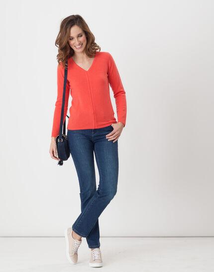 Heart orangey cashmere sweater (2) - 1-2-3