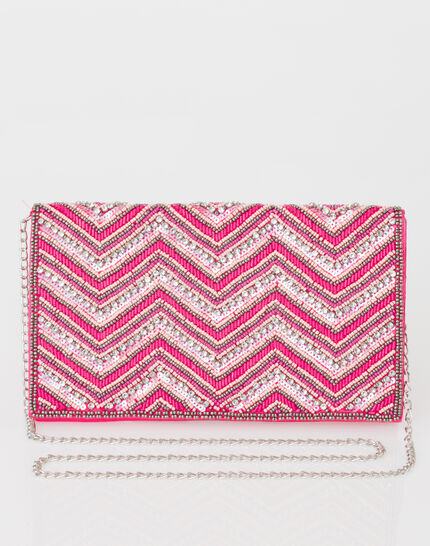 Prune beaded pink clutch (2) - 1-2-3