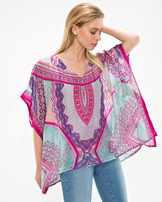 Azurella fuchsia printed tunic with a poncho effect (1) - 1-2-3