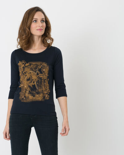 Noix navy blue printed T-shirt with 3/4 length sleeves (1) - 1-2-3