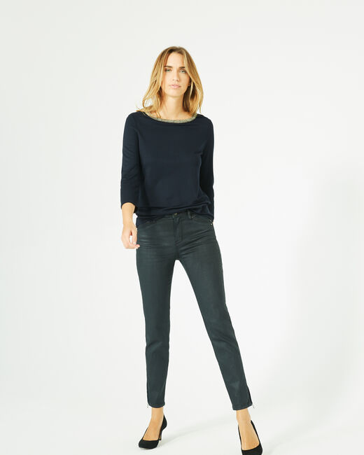 Billy navy blue T-Shirt with 3/4 length sleeves and rounded neckline (1) - 1-2-3