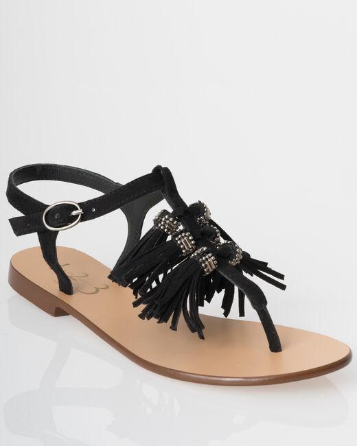 Sandales plates à pompons noires Julia (1) - 1-2-3