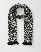 Savana black scarf in animal print black.
