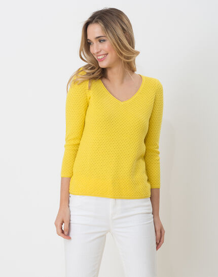 Pull jaune jeu de points Heidi PhotoZ | 1-2-3