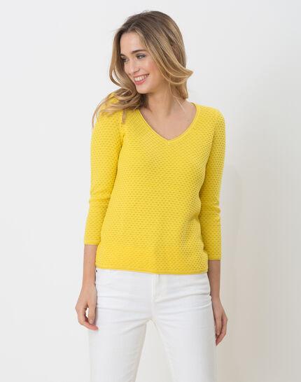 Heidi yellow sweater with stunning stitchwork PhotoZ | 1-2-3