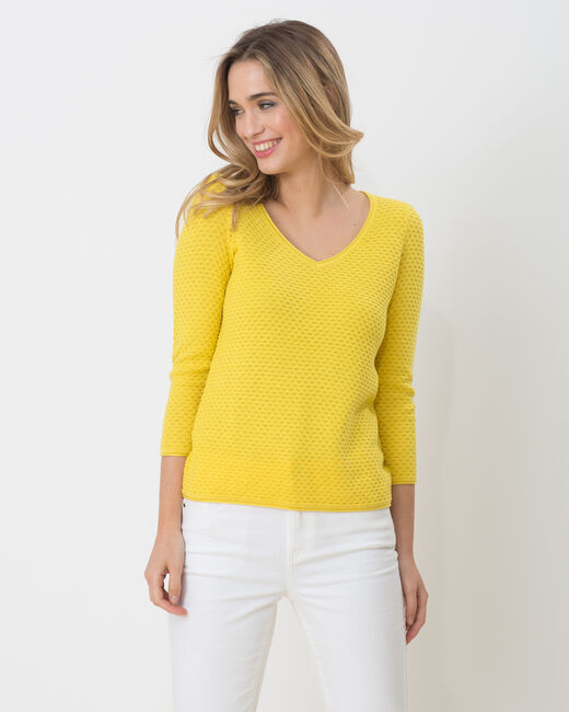 Heidi yellow sweater with stunning stitchwork (1) - 1-2-3