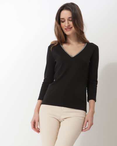 Neck black T-Shirt with diamanté neckline (1) - 1-2-3