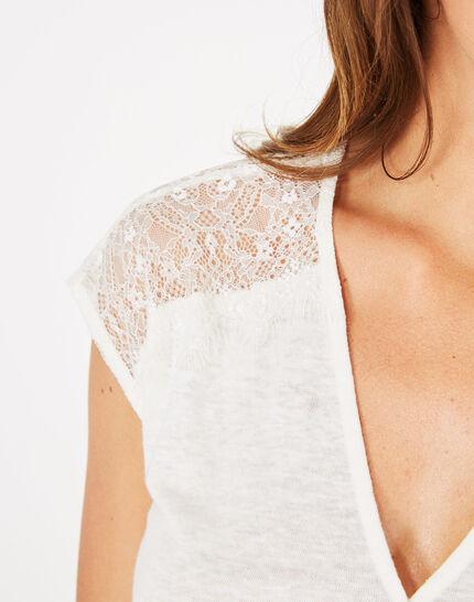 Tee-shirt écru en lin Noha (4) - 1-2-3