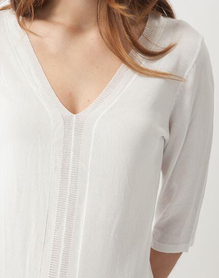 Honey V-neck ecru sweater (5) - 1-2-3