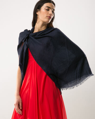 Pat navy blue poncho-style stole (2) - 1-2-3