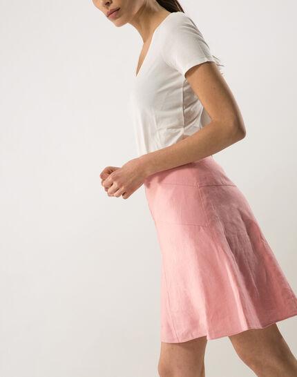 Clairon short pink linen skirt (2) - 1-2-3