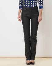 Victor black coated straight-cut jeans black.