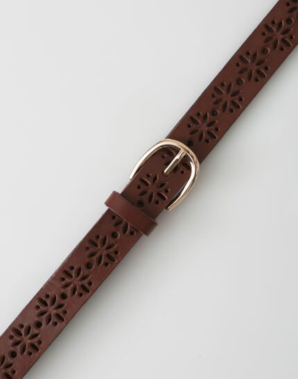 Yoko camel perforated leather belt PhotoZ | 1-2-3