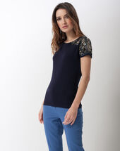 Nava dual-fabric t-shirt with beading on the shoulders navy.