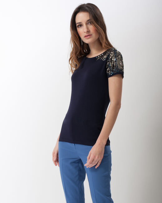 Nava dual-fabric T-shirt with beading on the shoulders (1) - 1-2-3