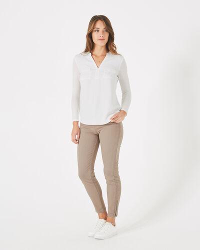 Leden ecru dual-fabric T-shirt (1) - 1-2-3