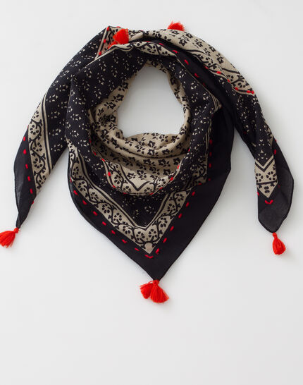 Suzy black printed scarf in cotton (2) - 1-2-3