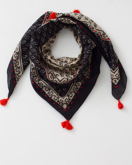 Foulard noir imprimé en coton Suzy (1) - 1-2-3