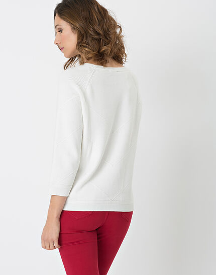 Habsinthe ribbed ecru sweater (4) - 1-2-3