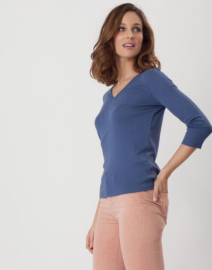 Noria blue T-Shirt with embroidered neckline (3) - 1-2-3