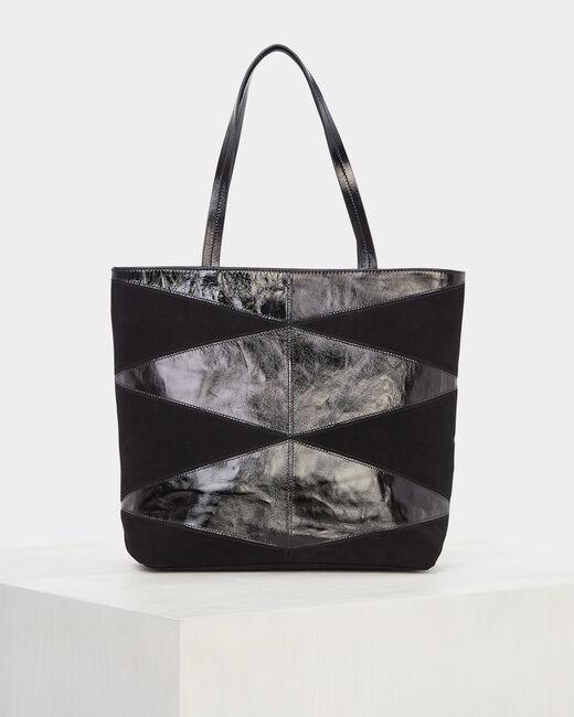 Rafi dual-fabric black bag (1) - 1-2-3