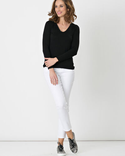 Tee-shirt noir col V orné de cristaux Swarovski Lyubia (1) - 1-2-3