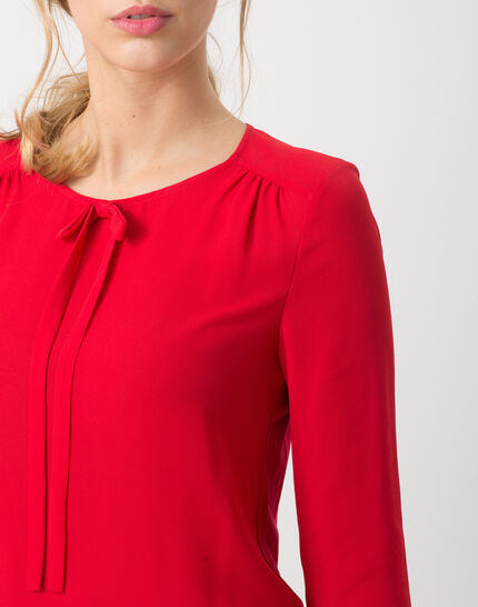 Lipstick red T-Shirt with bow neckline (5) - 1-2-3
