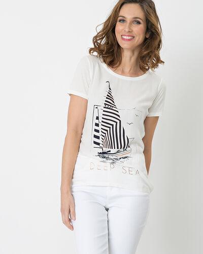 Tee-shirt imprimé écru Nautile (1) - 1-2-3