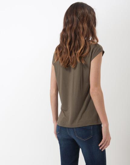 Natte khaki T-shirt with braided collar (4) - 1-2-3