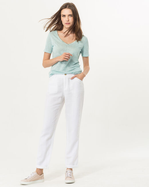 Pantalo chino blanc en lin Dorian (1) - 1-2-3