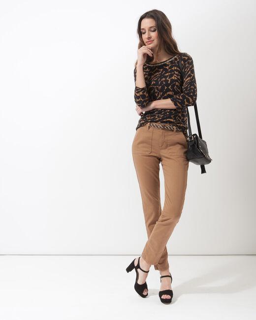 Pantalon 7/8ème camel poches cargo Denis (1) - 1-2-3