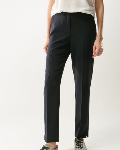 Lara navy blue slim-cut tailored trousers (2) - 1-2-3