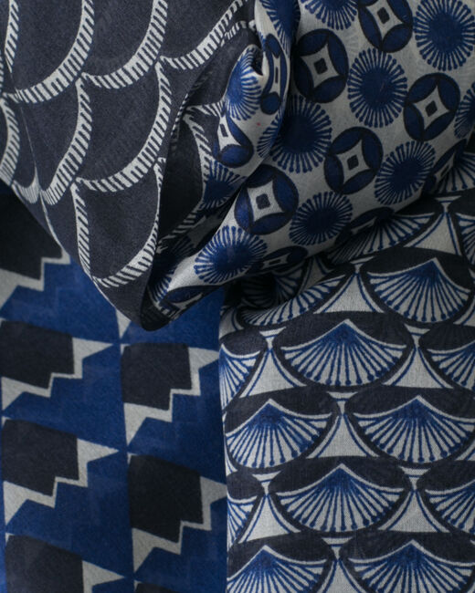 Saphia navy blue printed scarf (2) - 1-2-3