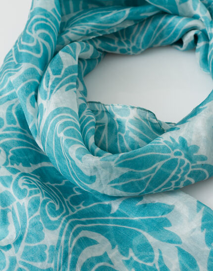 Scarlett turquoise silk printed scarf PhotoZ | 1-2-3