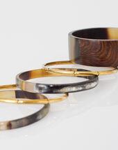 Warren wood and brass bracelets dark brown.