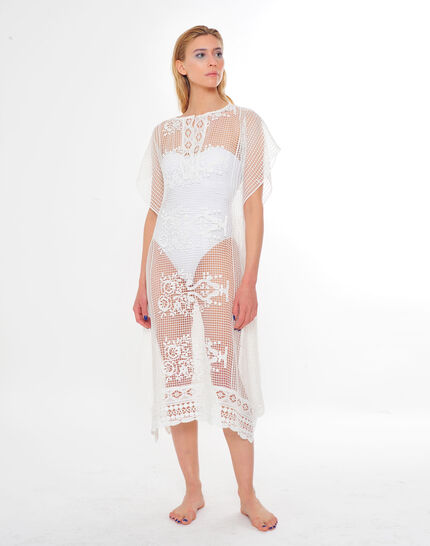 Sophie short white lace kaftan for the beach (2) - 1-2-3