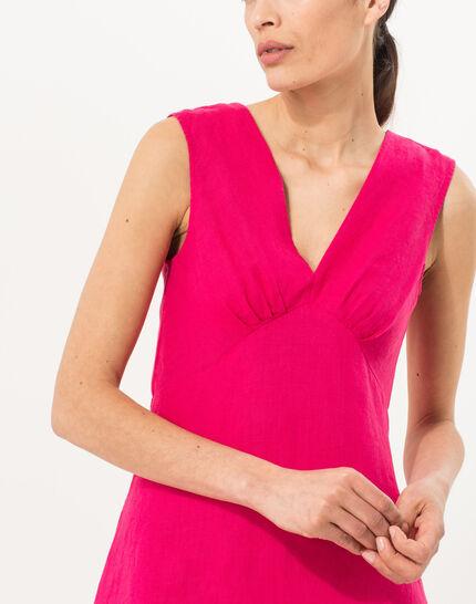 Bonbon fuchsia linen dress (3) - 1-2-3