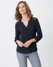 Edita navy blue shirt with lace navy.