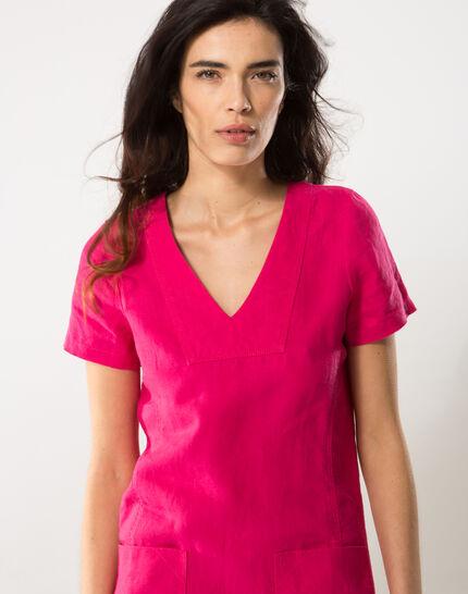 Bisou fuchsia linen dress (6) - 1-2-3