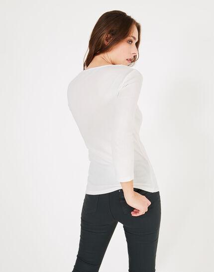 Neck ecru T-shirt with diamanté neckline (4) - 1-2-3