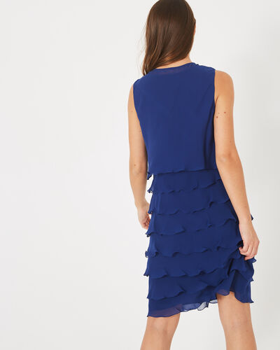 Flower royal blue flouncy silk dress (1) - 1-2-3