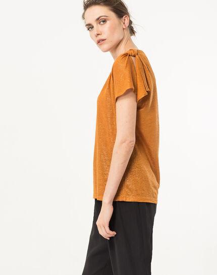 Tee-shirt ocre en lin Nuba (3) - 1-2-3