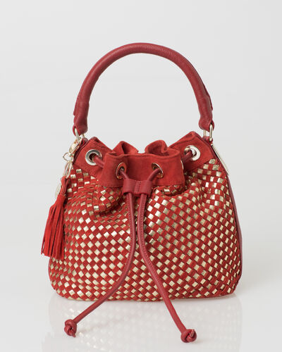Paolo red velour bag (2) - 1-2-3