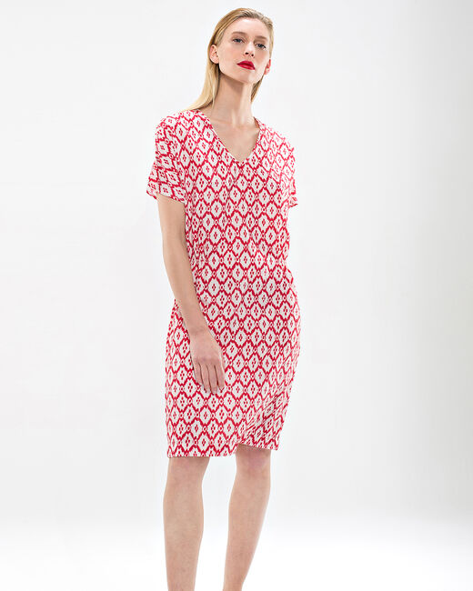 Birdy red, printed, embroidered dress (1) - 1-2-3