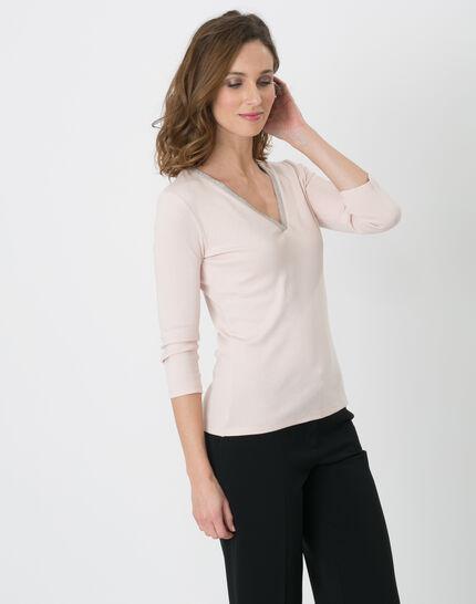 Pale pink T-Shirt with diamanté neckline (3) - 1-2-3