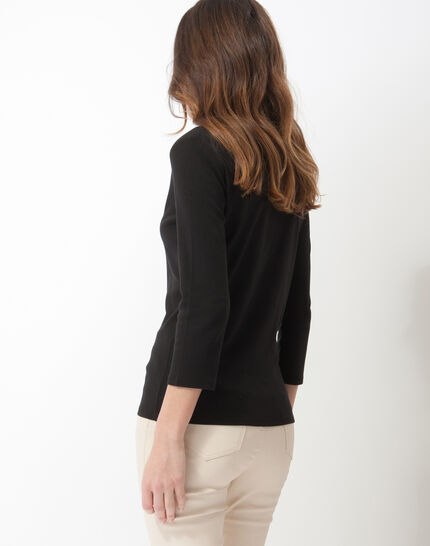 Neck black T-Shirt with diamanté neckline (4) - 1-2-3