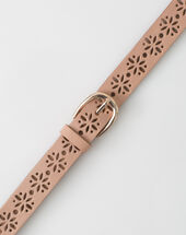 Yolo fine pale pink belt in perforated leather powder.
