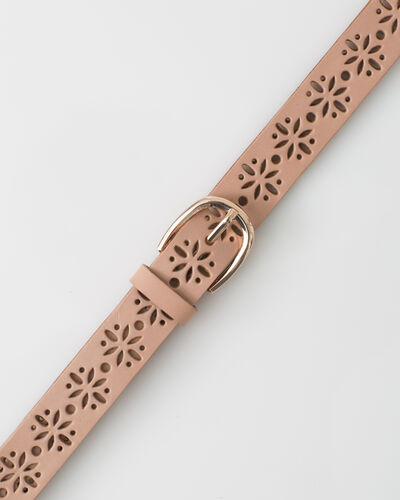 Yolo fine pale pink belt in perforated leather (2) - 1-2-3